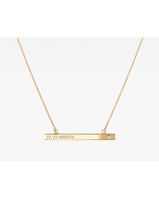 Vrai & Oro | Metallic Bar Necklace With Diamond | Lyst