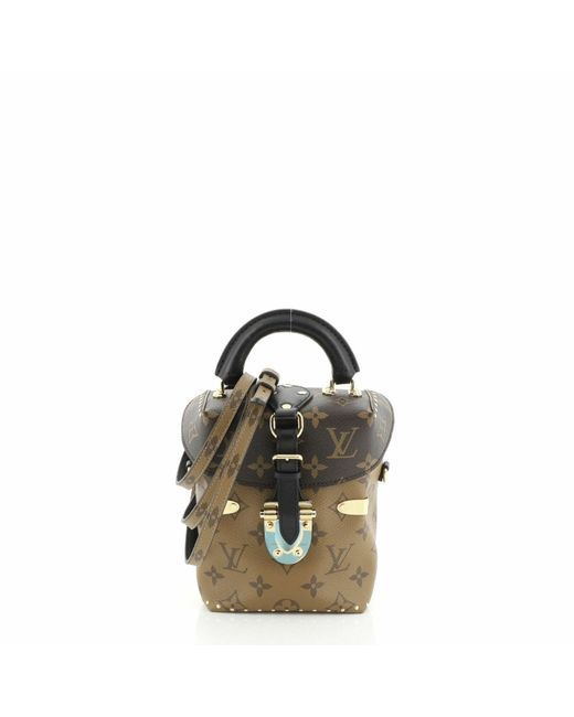 Louis Vuitton Brown Camera Box Handbag Studded Reverse Monogram Canvas