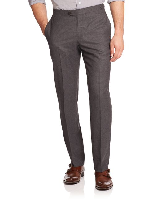 Isaia | Gray Flat-front Italian Wool Pants for Men | Lyst