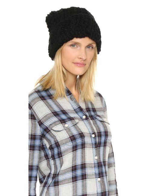 1717 Olive | Black Cuffed Pom Beanie Hat | Lyst
