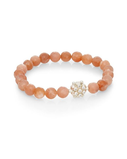 Anzie   Natural Boheme Sunstone & Sterling Silver Bracelet   Lyst