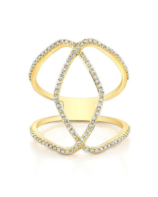 Anne Sisteron | 14kt Yellow Gold Diamond Edgy Cigar Band Ring | Lyst