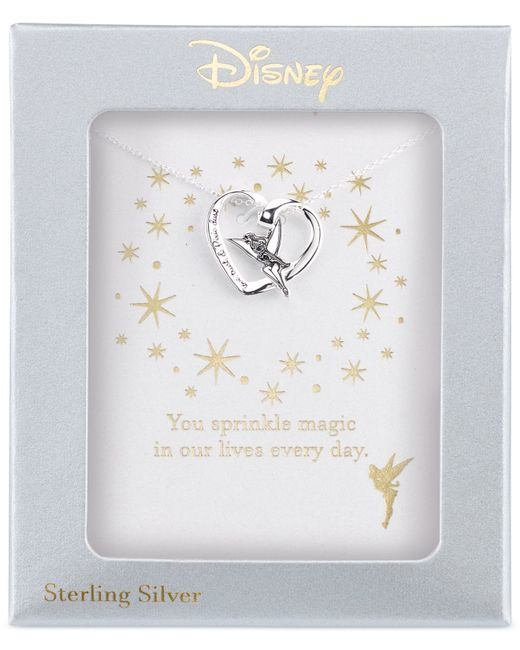 Disney | Metallic Engraved Tinker Bell Pendant Necklace In Sterling Silver | Lyst