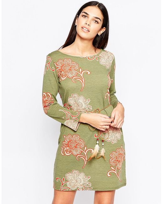 club l shift dress with feather tie belt in green
