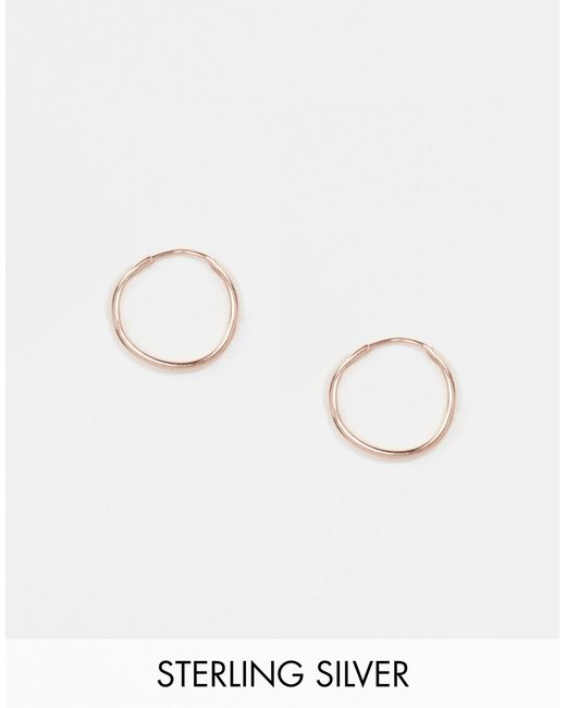 ASOS | Metallic Rose Gold Plated Sterling Silver 9mm Hoop Earrings | Lyst
