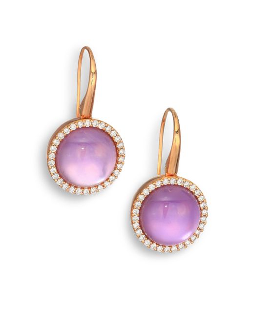 Roberto Coin | Metallic Cocktail Amethyst, Mother-of-pearl, Diamond & 18k Rose Gold Drop Earrings | Lyst