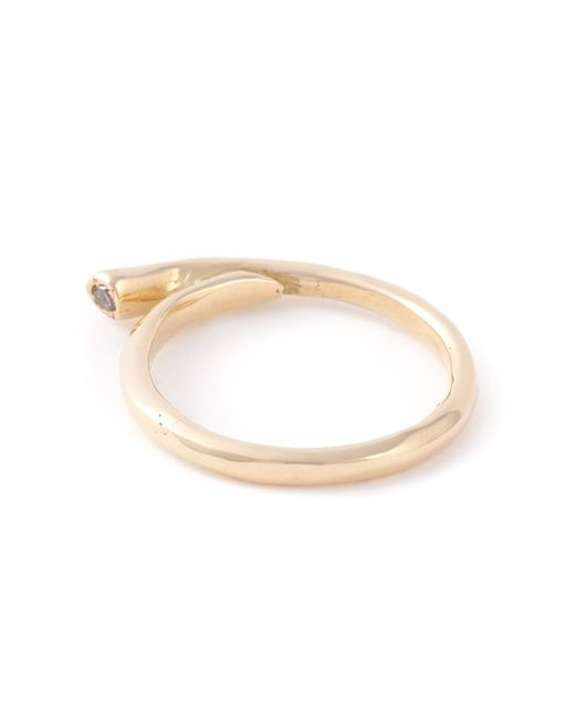 Rosa Maria | Metallic 18kt Gold Diamond Curved Ring | Lyst