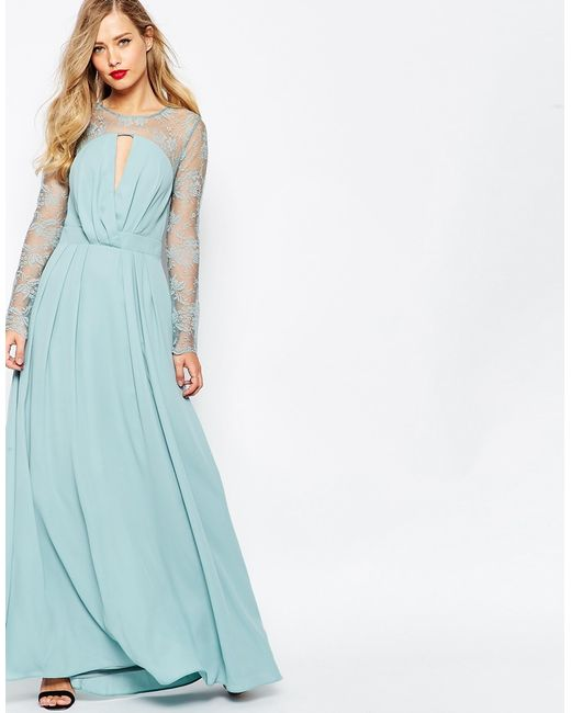 ASOS   Blue Kate Lace Maxi Dress With Long Sleeves - Navy   Lyst