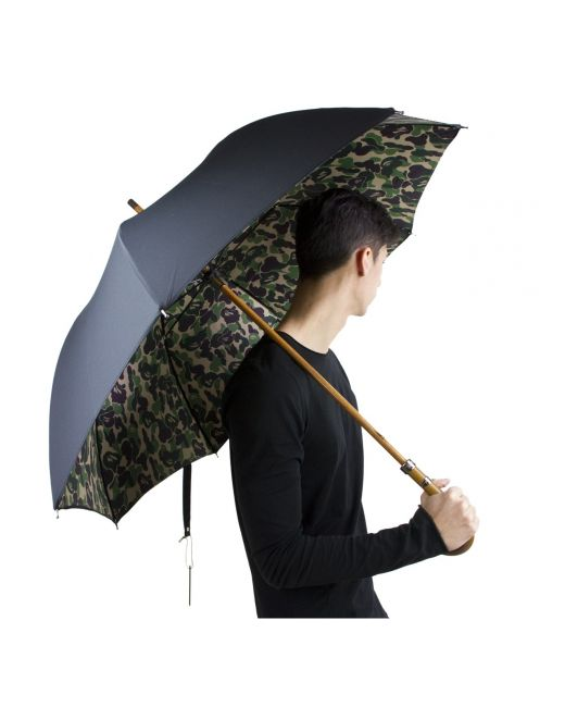 A Bathing Ape Black Satin Umbrella With Camouflage