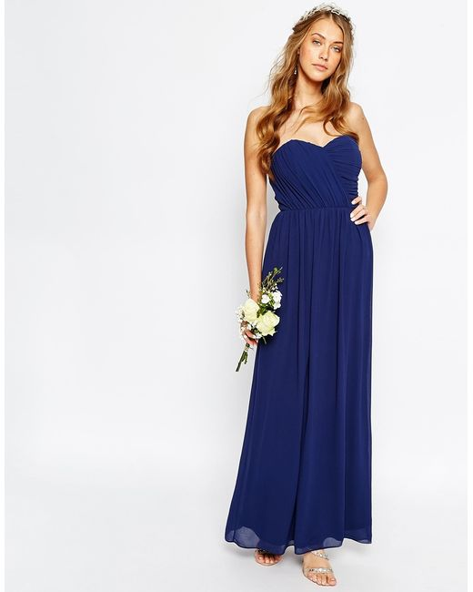 Tfnc london wedding bandeau chiffon maxi dress in blue for Navy blue maxi dress for wedding