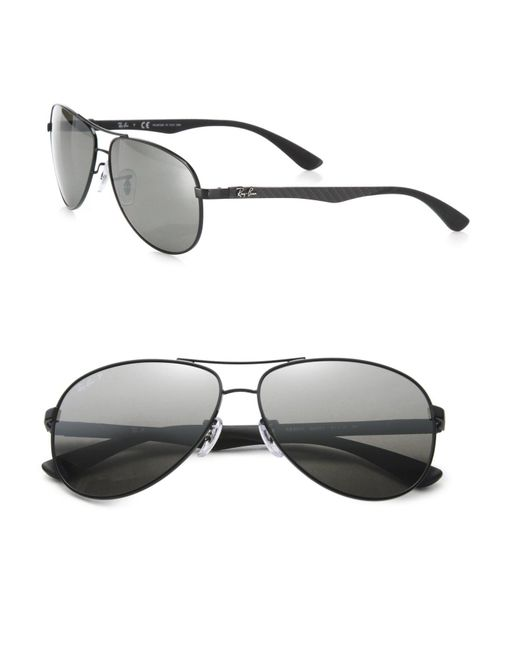 Ray-Ban | Black Pilot 61mm Mirrored Sunglasses for Men | Lyst