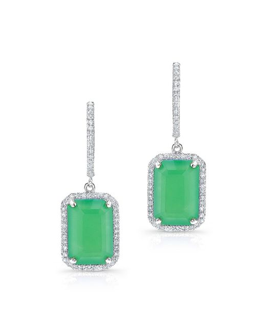 Anne Sisteron - Green 14kt White Gold Rectangle Chrysoprase Diamond Earrings - Lyst