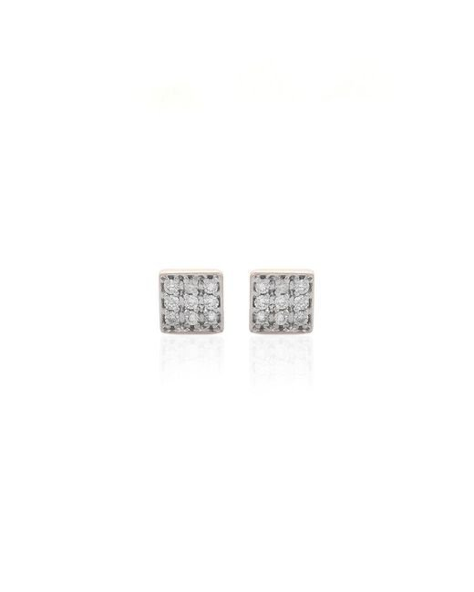 Kismet by Milka | Metallic Geometry Square Pave Stud Earrings | Lyst