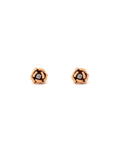 Anita Ko | Pink Rose Gold And Diamond Flower Stud Earrings | Lyst