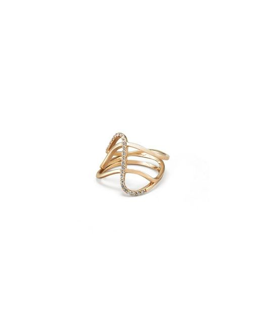 Paige Novick - Metallic Three Row Curved Ring With Single Row Diamond Pave Detail In Yellow Gold - Lyst