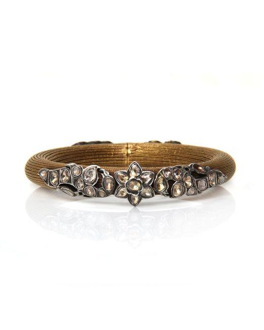 Sanjay Kasliwal | Metallic Gold Mesh And Diamond Bracelet | Lyst