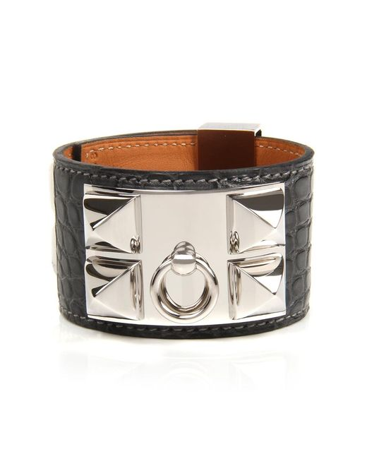 Hermès | Gray Graphite Matte Alligator Collier De Chien Bracelet | Lyst