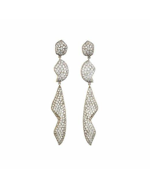 Kara Ross | Metallic Petra Pave Triple Drop Earrings | Lyst