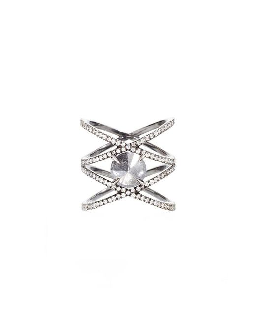 Eva Fehren | Metallic Xx Ring With Inverted Grey Diamond Ring | Lyst
