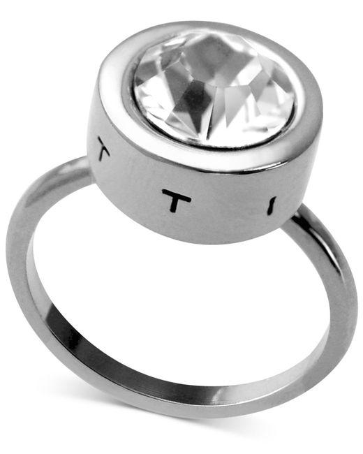 T Tahari | Metallic Silver-tone Round Crystal Ring | Lyst