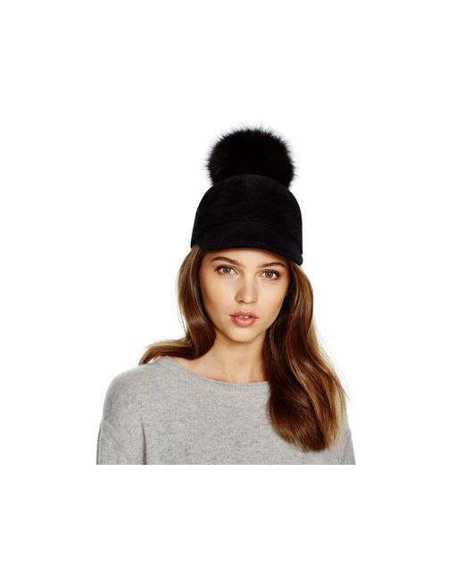 Eric Javits | Black Rabbit Fur Cap With Fox Fur Pom-pom | Lyst