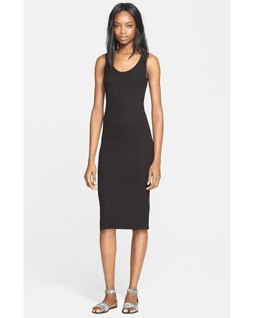 Enza Costa | Black Ribbed Jersey Tank Dress | Lyst