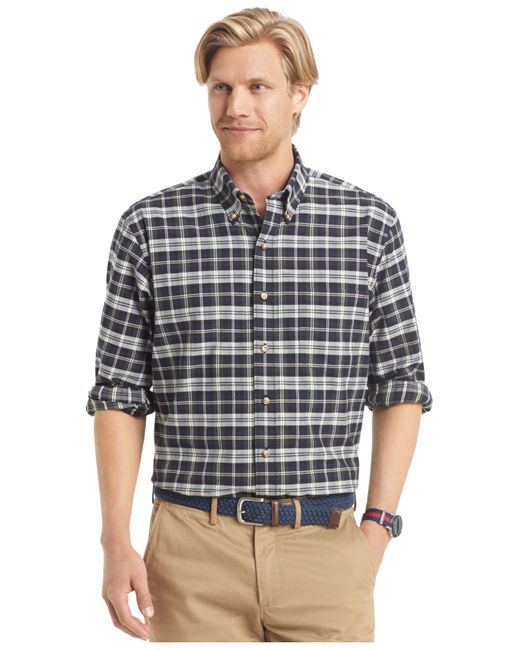 Izod medium long sleeve plaid button down shirt in green for Izod button down shirts