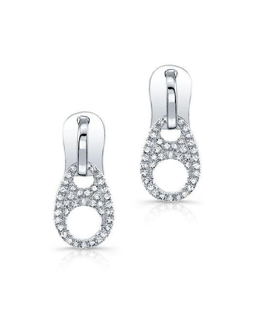 Anne Sisteron | Metallic 14kt White Gold Diamond Zipper Earrings | Lyst