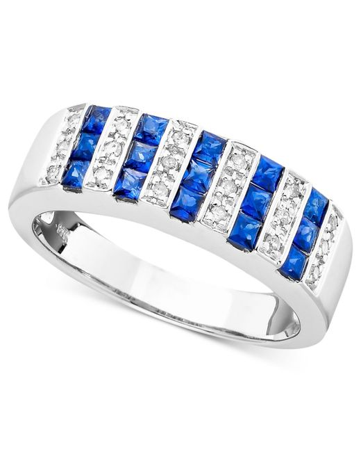 Macy's | Metallic Sapphire (9/10 Ct. T.w.) And Diamond (1/10 Ct. T.w.) Ring In 14k White Gold (also In Ruby And Emerald) | Lyst