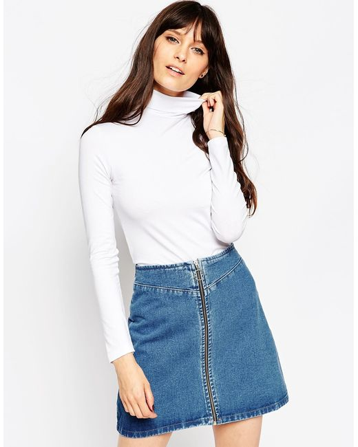 ASOS | White The Polo Neck With Long Sleeves | Lyst