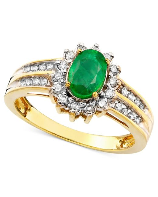 Macy's | Green Emerald (3/4 Ct. T.w.) And Diamond (3/8 Ct. T.w.) Ring In 14k Gold | Lyst