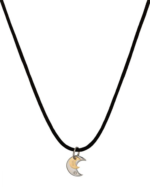 Damiani Stainless Steel Twice Moon-pendant Cord Necklace ...
