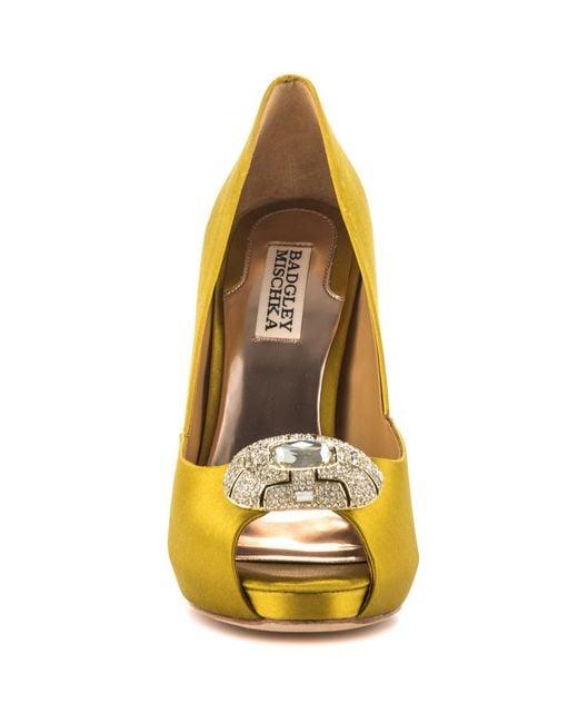 Badgley Mischka   Metallic Pearla Embellished Satin Pumps   Lyst