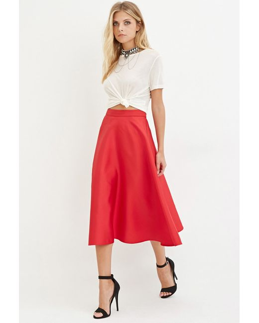 Forever 21 Contemporary A Line Midi Skirt In Red Lyst