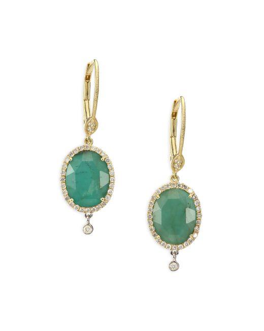 Meira T | Metallic Emerald, Diamond, 14k Yellow Gold, 14k White Gold & Silver Oval Charm Drop Earrings | Lyst