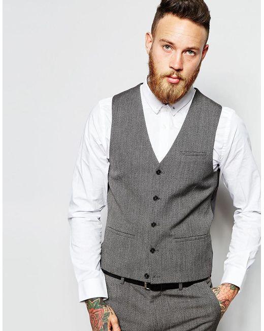 ASOS | Gray Super Skinny Vest In Salt And Pepper for Men | Lyst