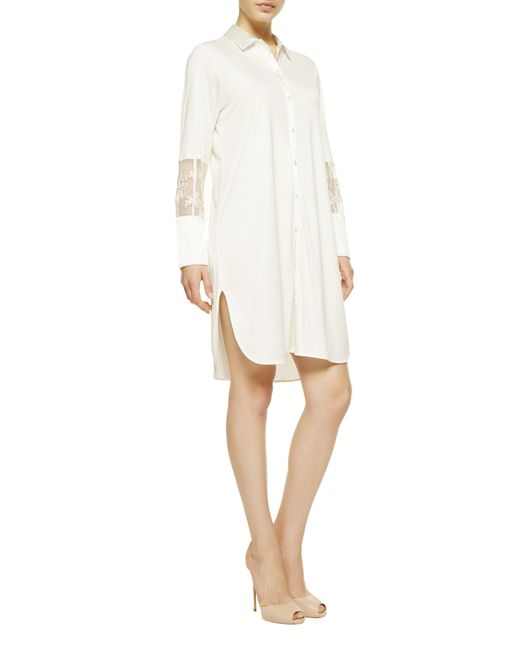 La Perla | Natural Night Shirt With Button Front | Lyst