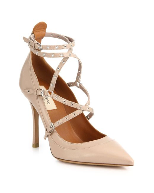 Valentino Grommet Studded Leather Pumps In Pink Blush