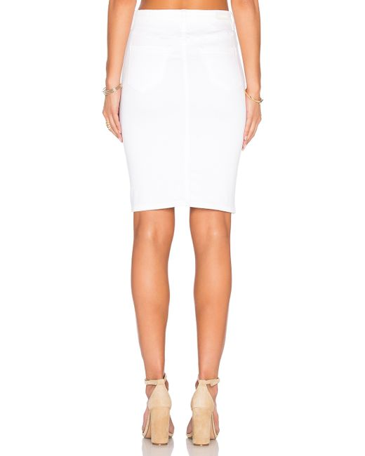 blank nyc white button front pencil skirt in white lyst