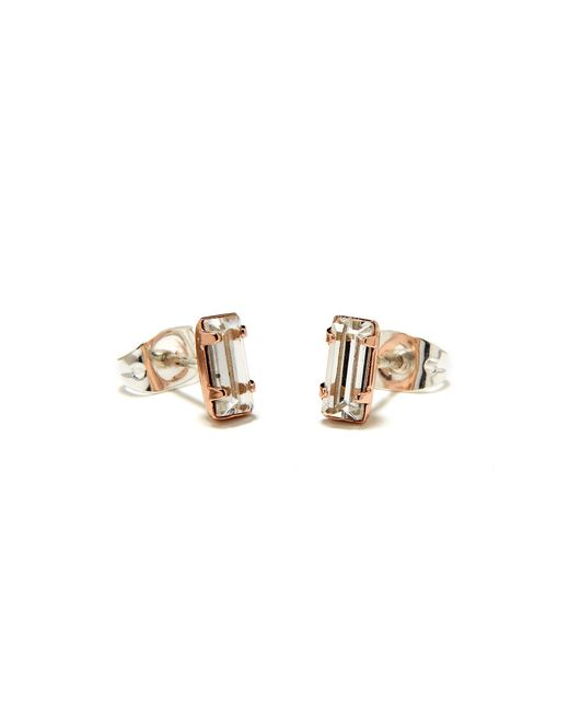 Bing Bang | Pink Tiny Baguette Studs | Lyst