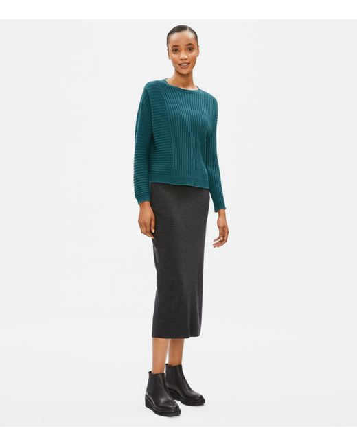 Eileen Fisher Blue Seamless Italian Cashmere Ribbed Box-top