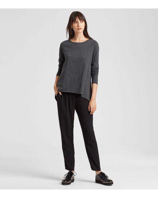 Eileen Fisher - Gray Organic Cotton Jersey Melange High-low Top - Lyst