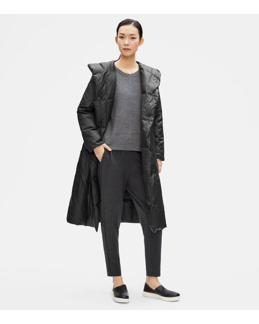 Eileen Fisher - Black Recycled Nylon Hooded Parka Coat - Lyst