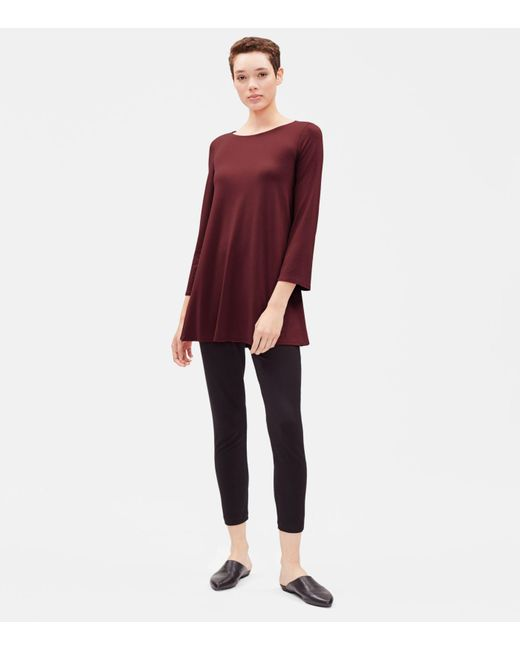 Eileen Fisher - Black Viscose Jersey A-line Tunic - Lyst