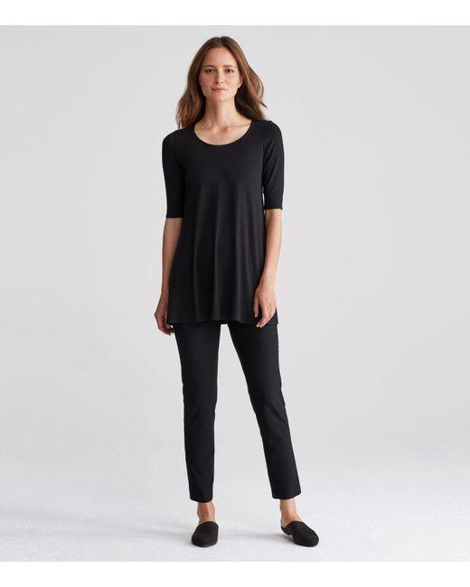 Eileen Fisher - Black Viscose Jersey Scoop Neck Elbow-sleeve Tunic - Lyst