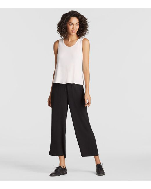 Eileen Fisher - White System Silk Jersey Short Shell - Lyst
