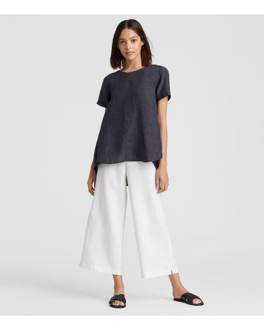 Eileen Fisher - Blue Organic Linen Delave High-low Top - Lyst