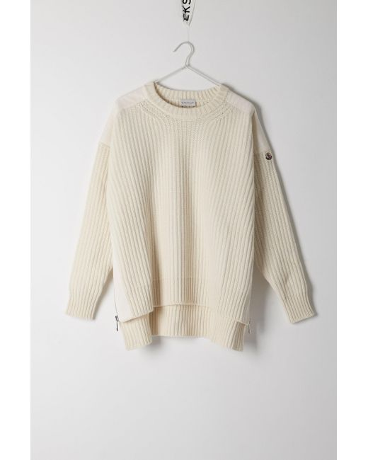 Moncler | White Tricot Round Neck Jumper | Lyst