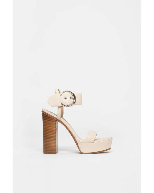 d752d33bb82 Chloé - Natural Block Heel Sandals With Buckle - Lyst ...