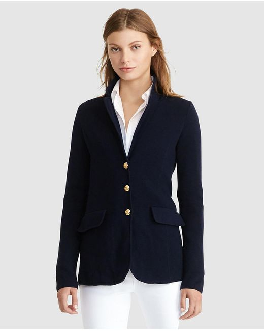 Lauren by Ralph Lauren | Blue Cotton Sweater Blazer | Lyst